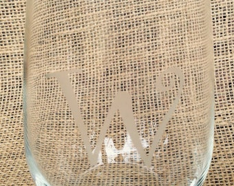 Monogrammed Etched Stemless Wine Glasses Set of 4