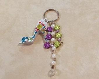 Blingy high heel flower beads keychain