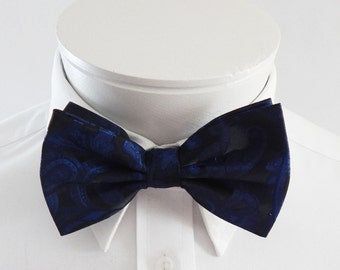 Mens Bowtie  Royal Blue On Black Paisley Pre Tied Bow Tie