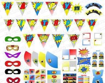 Superhero party birthday printable party supplies NO INVITATION  superhero printable party superhero birthday super hero party supplies