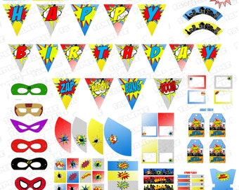Superhero party printable birthday party supplies INSTANT DOWNLOAD  superhero printable party superhero birthday no personalization