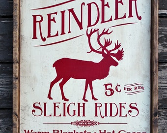 "16""x25.5"" **  Vintage Rustic wooden sign 'Reindeer Sleigh Ride' Christmas Holiday season sign"