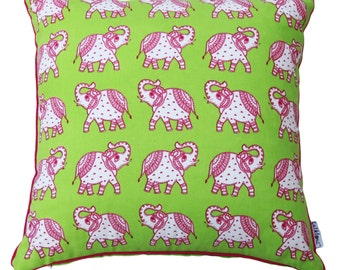 SALE - Lime Green Dual Sided Kids Decorative Pillow / Pink Saluting Elephants / Throw / Accent / Couch / Cushion Cover / 18 x 18 inches