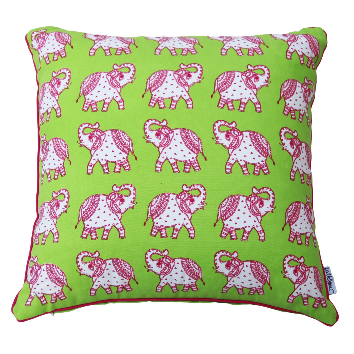 SALE Lime Green Dual Sided Kids Decorative Pillow / Pink