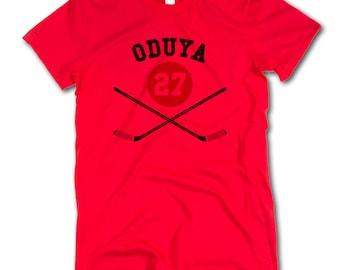 Johnny Oduya NHLPA Officially Licensed Chicago Womens Fine Jersey T-Shirt S-2XL Oduya Sticks