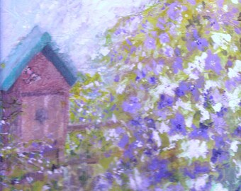 Bird Box and Clematis Acrylic Original Painting