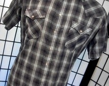 Vintage Levi's men's blue tag plaid western shirt xl 17-17 1/2