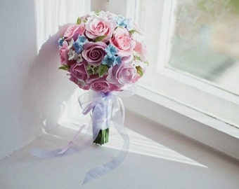 Wedding bouquet, hadnmade flowers, clay flowers, hand tied bouqet, keepsake flowers, bride's bouqet, pink roses, flowers