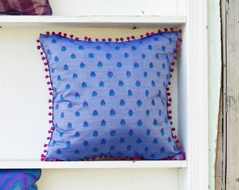 Pom Pom Pillow Cover- Pink and Blue