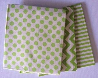 Chevron/Dots/Stripes Bundle- lime/natural
