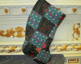 Christmas Stocking patchwork Black and green