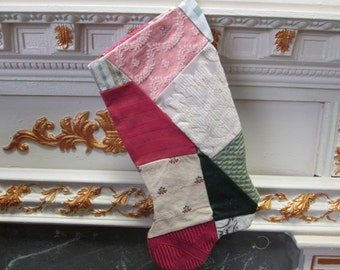 Shabby Chic Crazy Quilt Christmas Stocking pastels