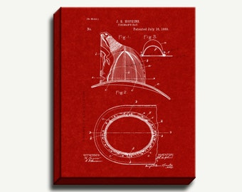 Canvas Patent Art - Fireman's Hat Gallery Wrapped Canvas Print