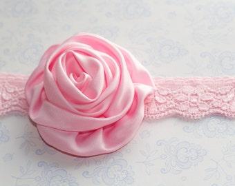 SERENA: Baby Headband Bridesmaid Headband Flower Girl Headband. Light Pink Satin Flower.
