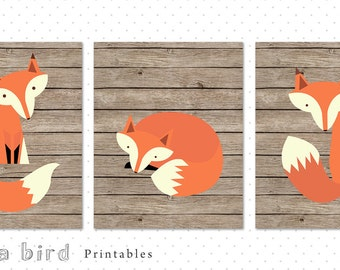 Fox set, woodland nursery decor set,  fox nursery print, fox print, boys room decor, playroom foxes  INSTANT DOWNLOAD