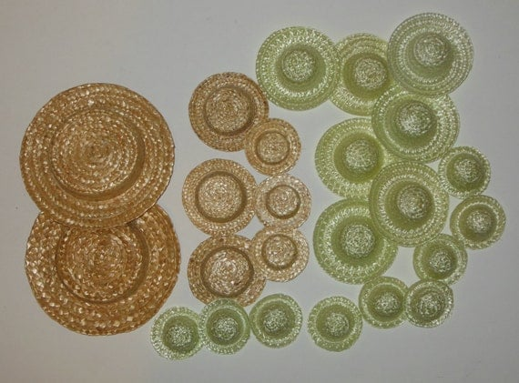 Lot of 24 miniature small straw hats for crafts light green for Tiny top hats for crafts