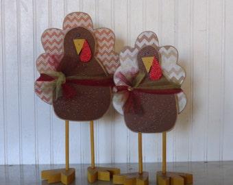 Fall decor-Thanksgiving Decor- Turkey decor- Thanksgiving Decoration- Centerpiece-Standing Turkeys