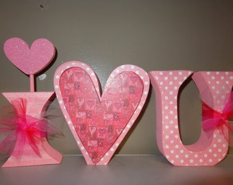 Valentines Decor- Valentines Decorations- Love Letters- I Love U Letter Set