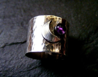 Silver Wide Band Rustic ring with Crescent Moon Amethyst Celestial Sterling Statement Ring