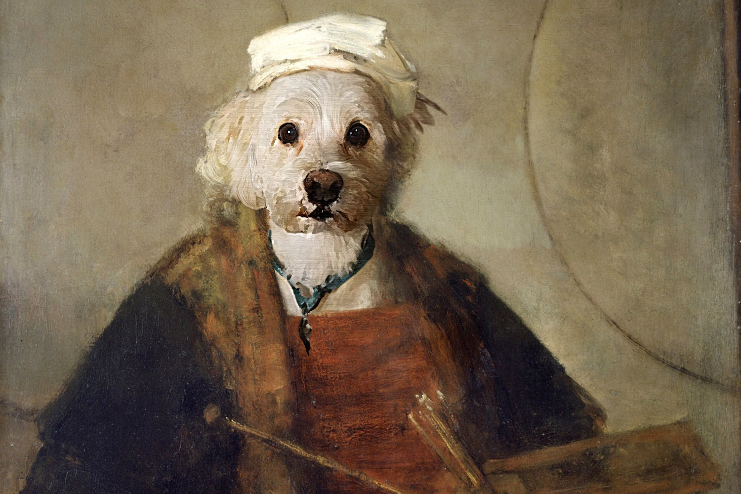 Renaissance pet portrait painted by hand custom pet for Painting of your dog