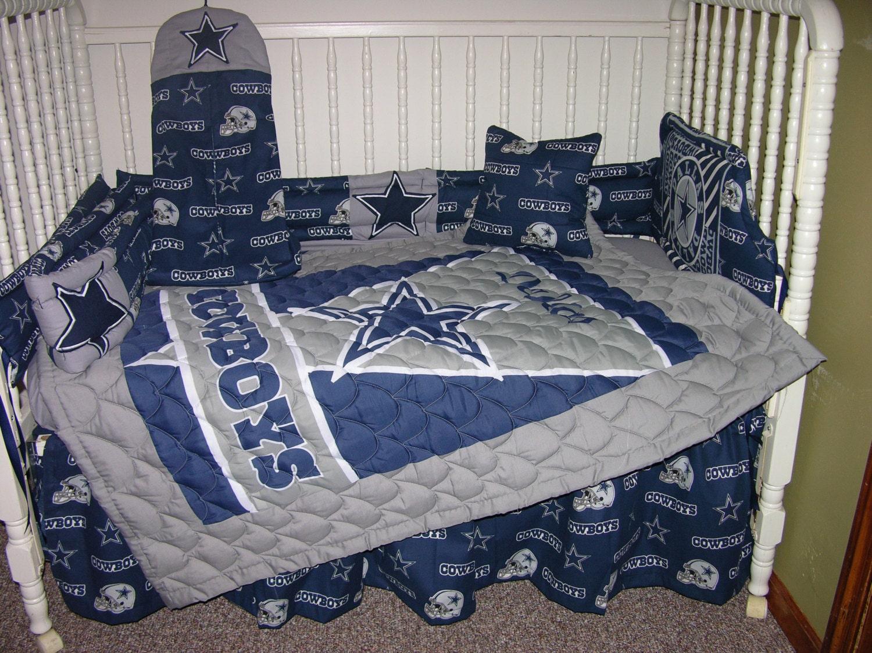 New Crib Nursery Bedding m/w Dallas Cowboys Fabric