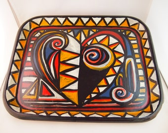 Striking, hand painted metal tray from the Liz Ellard 'Queen of Hearts'  series.