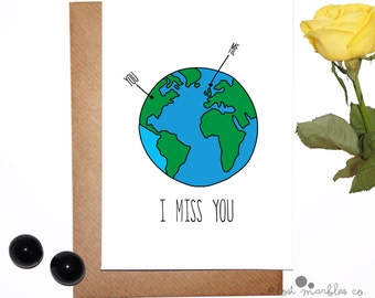 Sweet Miss You Card ∙ Thinking of You Card ∙ Long Distance Card ∙ Card for Him ∙ Card for Her ∙ Earth card ∙ Miss You Card ∙ I Miss You