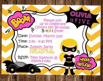 Batgirl Birthday Invitation / Batgirl Party invitation / Superhero Birthday / Batgirl Birthday / Batgirl party / Birthday Invitation