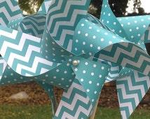 12 Paper Pinwheels!  Turquoise or Dark Aqua Polka Dot and Chevron Pin Wheels.  Weddings, Baby Showers, and Birthdays!