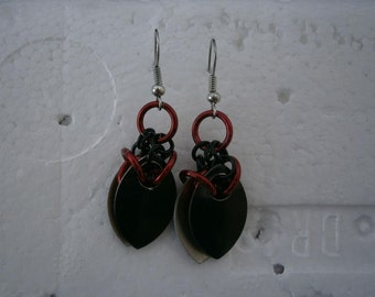 Red and Black maille earrings with scales