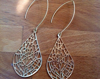 Large matte gold filigree teardrop earrings