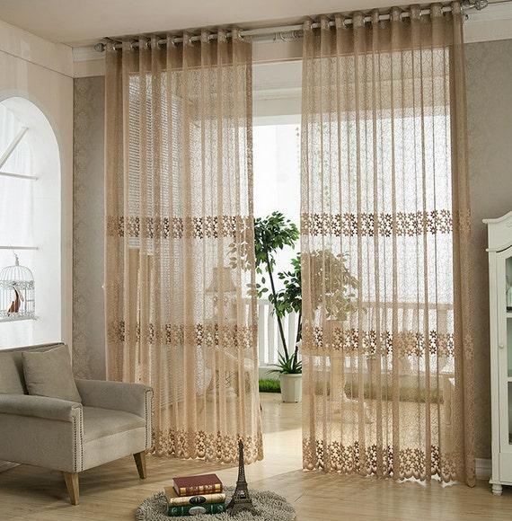 Light brown jacquard net sheer curtain voile panel one custom - Cortinas para sala ...