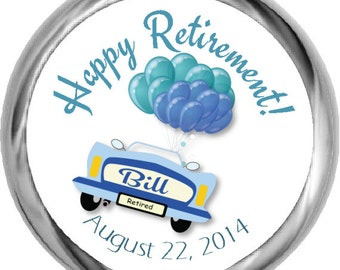 Custom Car Retirement Sticker Labels - Retirement Candy Sticker Label, Chocolate Party Favors for Men