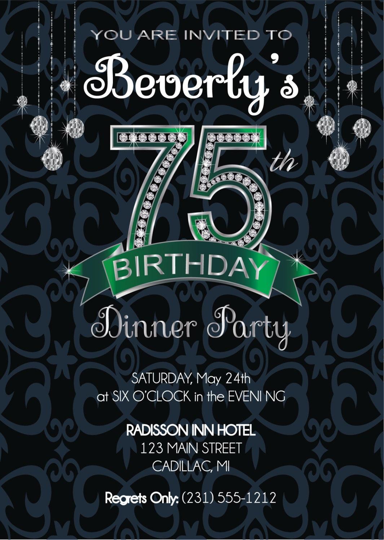 75th Birthday Invitation Adult Birthday Party Invitation – 75th Birthday Party Invitations