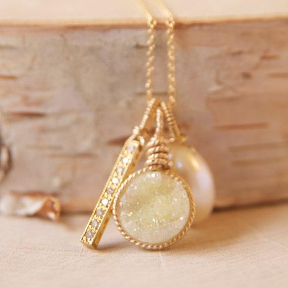 Lemon druzy pendant necklace