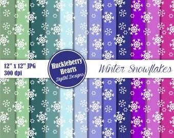 Winter Snowflakes Digital Scrapbook Paper, Backgrounds, Blue, Green, Purple