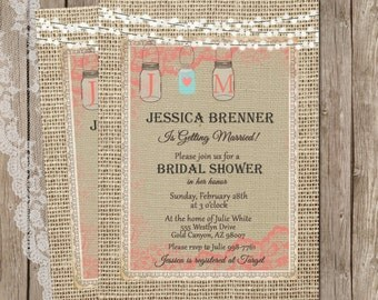 Rustic Burlap Bridal Shower Invitation, Mason Jar, Lights, Digital File, Printable, 5x7