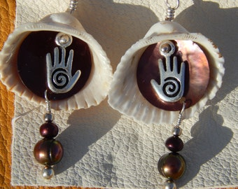 Sterling Silver Spiral Hand,Dyed Shell and Pearls w/Clamshell Dangle Earrings Rich Burgundy Earth Tones Natural Layers of Movement
