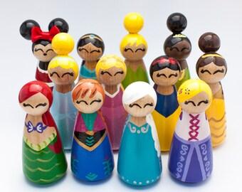 Set of 8 Disney Inspired peg Dolls- You choose!!