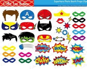 Superhero Photo Booth Props / DIY Printable Superhero Masks / Superhero Party Favors