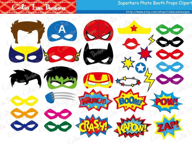 Superhero Photo Booth Props  Diy Printable Superhero Masks