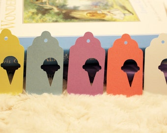 Ice Cream Cone Gift Tags - Perfect for Birthdays, Sweet 16, or Baby Showes! Set of 25 - 3 Sizes, Multiple Colors!
