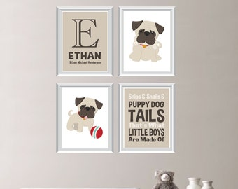 Baby Boy Nursery Art. Puppy Dog Nursery Art. Dog Nursery Decor. Dog Bedroom Art. Dog Bedroom Decor. Pug Art. Pug Decor. Dog Artwork. NS-695