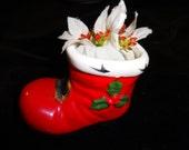 1960's Vintage Lefton Santa's Boot Planter With Fake Flowers