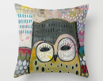 Unique Owl Pillow, Eclectic Home Decor, Whimsical Animal Art, Whimsical Artwork, Whimsical Decor, Owl Mask, Fun Owl Artwork, Eclectic Owl