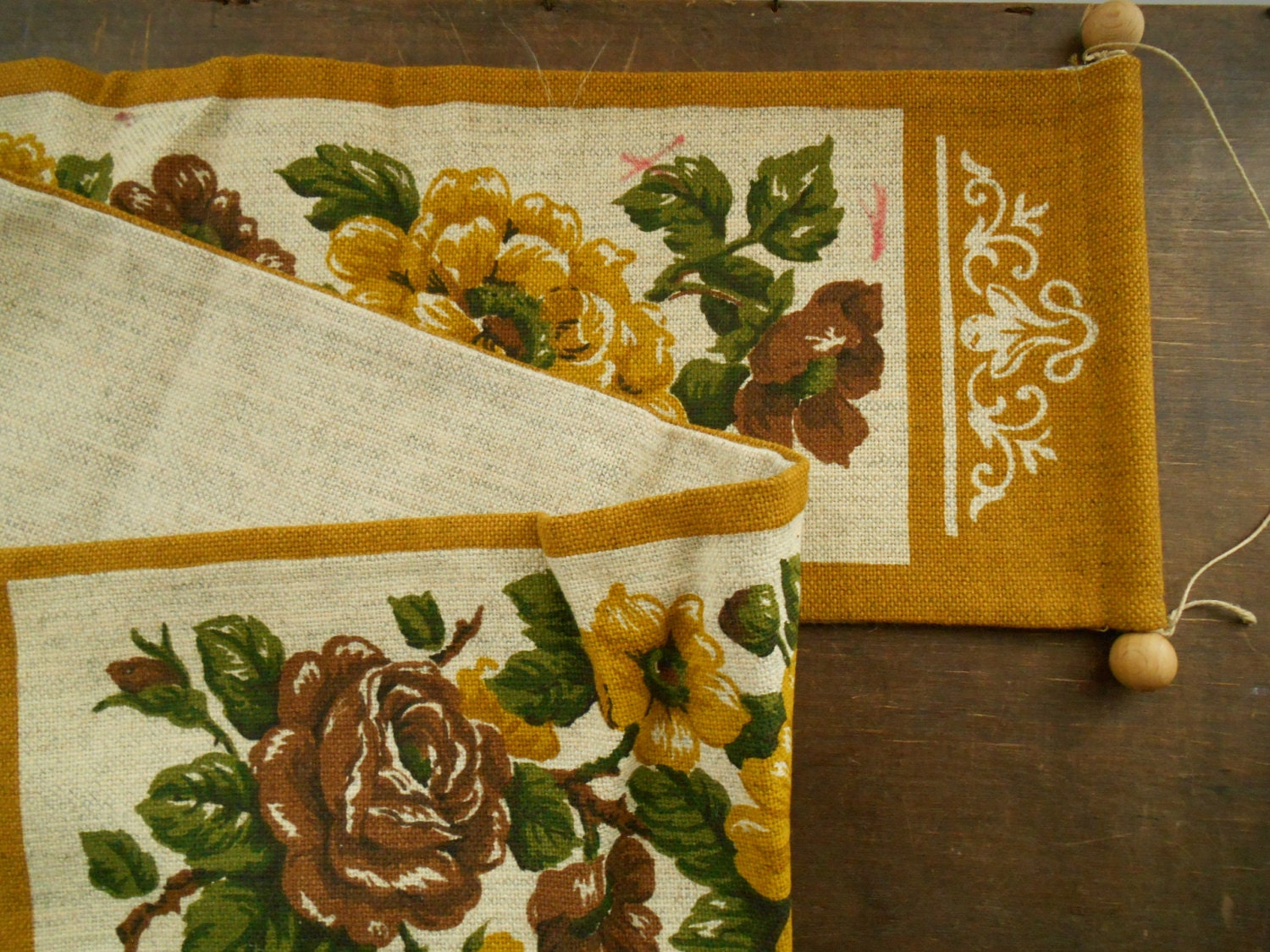 Vintage Swedish wall hanging Wall decor with printed shabby roses ...