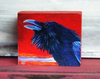 Raven Wood Block Art Collectible - Original Art Block Print or Ornament - by Corina St. Martin