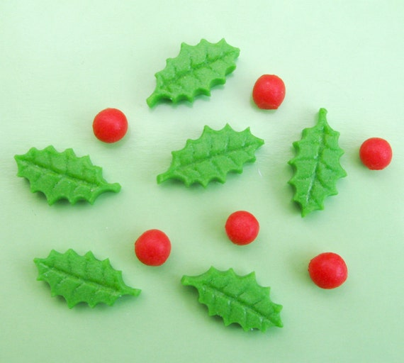 Cake Decorating Mini Holly Leaves : Set of 12 mini Holly Leaves & 12 Berries edible sugar cake