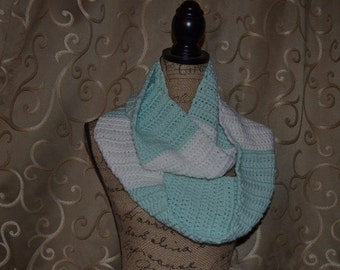 Crochet Infintity Scarf Mint Green and White FREE SHIPPING in USA