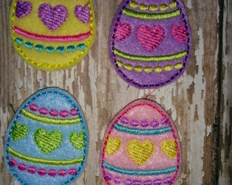 Set of 4 Girly Striped Stripe and Heart Egg with Bow Easter Feltie Felties Planner Clip Bow! Birthday Party Pink Yellow Blue Lavender Purple